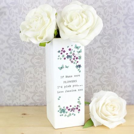 Personalised Square Vase - Forget Me Not